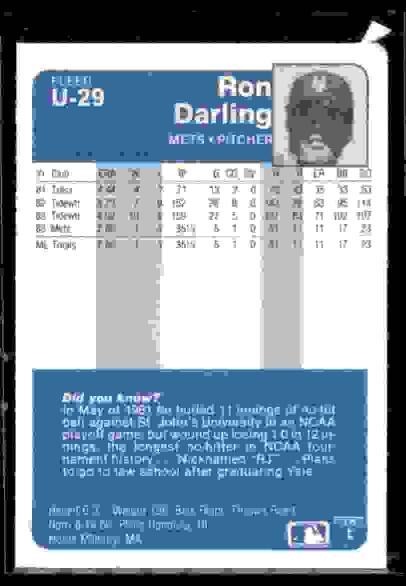 1984 Fleer Update Xrc Ron Darling #29 card back image