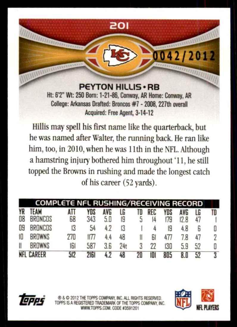 2012 Topps Gold Peyton Hillis #201 card back image