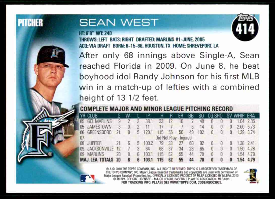 2010 Topps Sean West #414 card back image