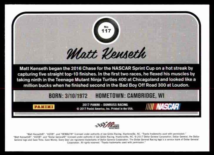 2017 Donruss Matt Kenseth #117 card back image