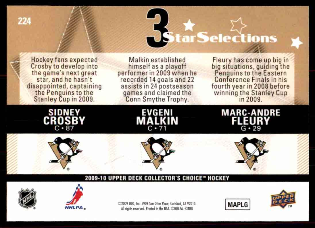2009-10 Upper Deck Collector's Choice Sidney Crosby  Evgeni Malkin  Marc-Andre Fleury #224 card back image