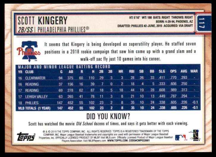 2019 Topps Big League Scott Kingery #117 card back image