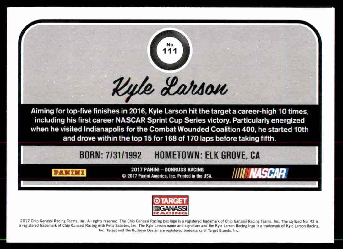 2017 Donruss Kyle Larson #111 card back image