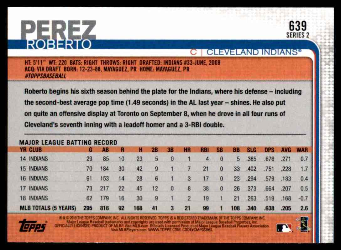 2019 Topps Series 2 Roberto Perez #639 card back image