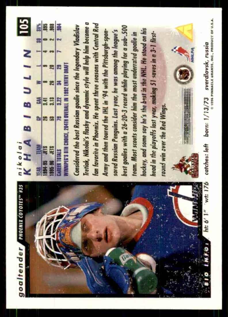 1996-97 Score Nikolai Khabibulin #105 card back image