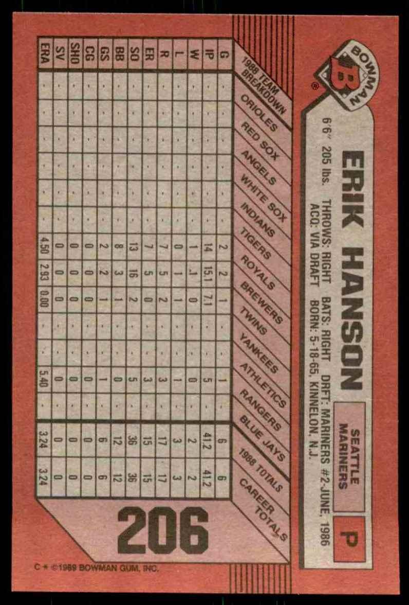 1989 Bowman Erik Hanson RC #206 card back image