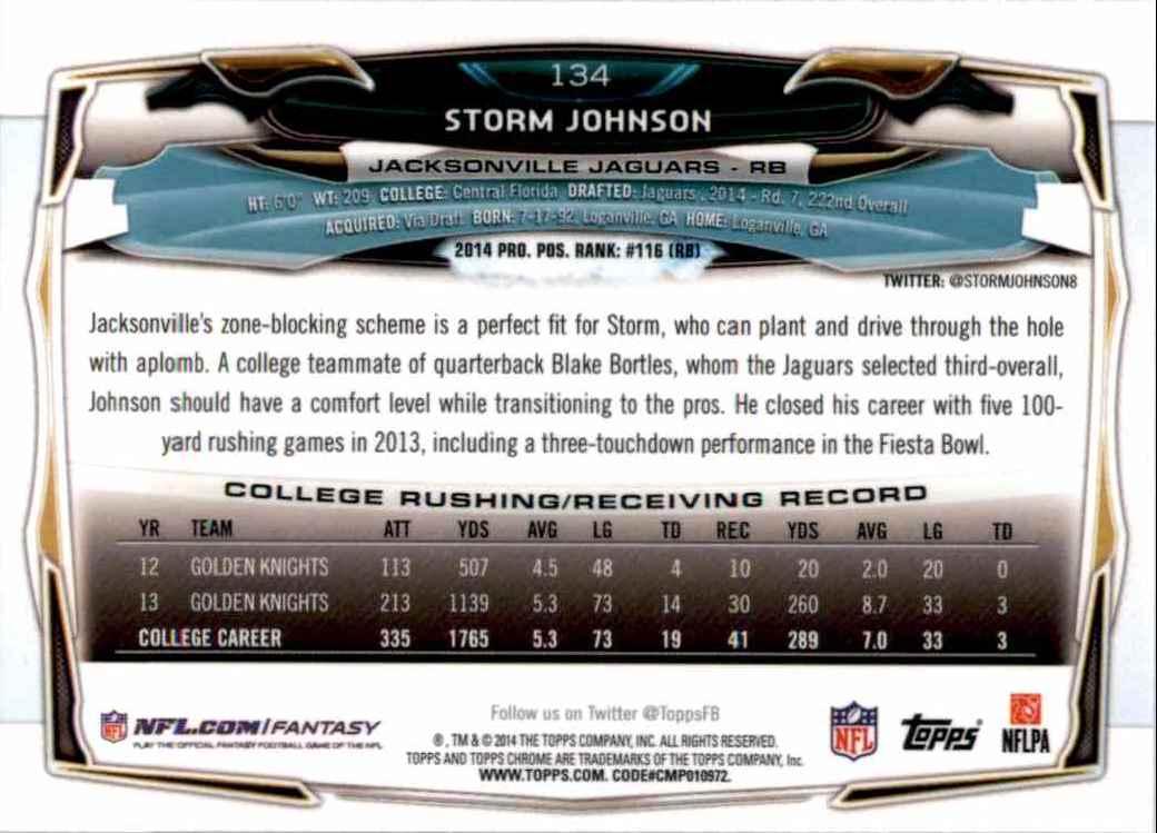 2014 Topps Chrome Storm Johnson RC #134 card back image