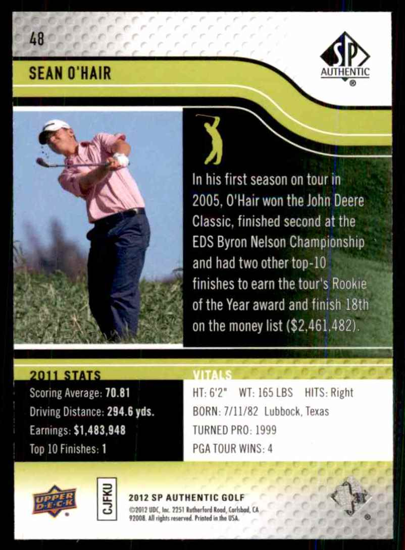 2012 SP Authentic Sean O'Hair #48 card back image