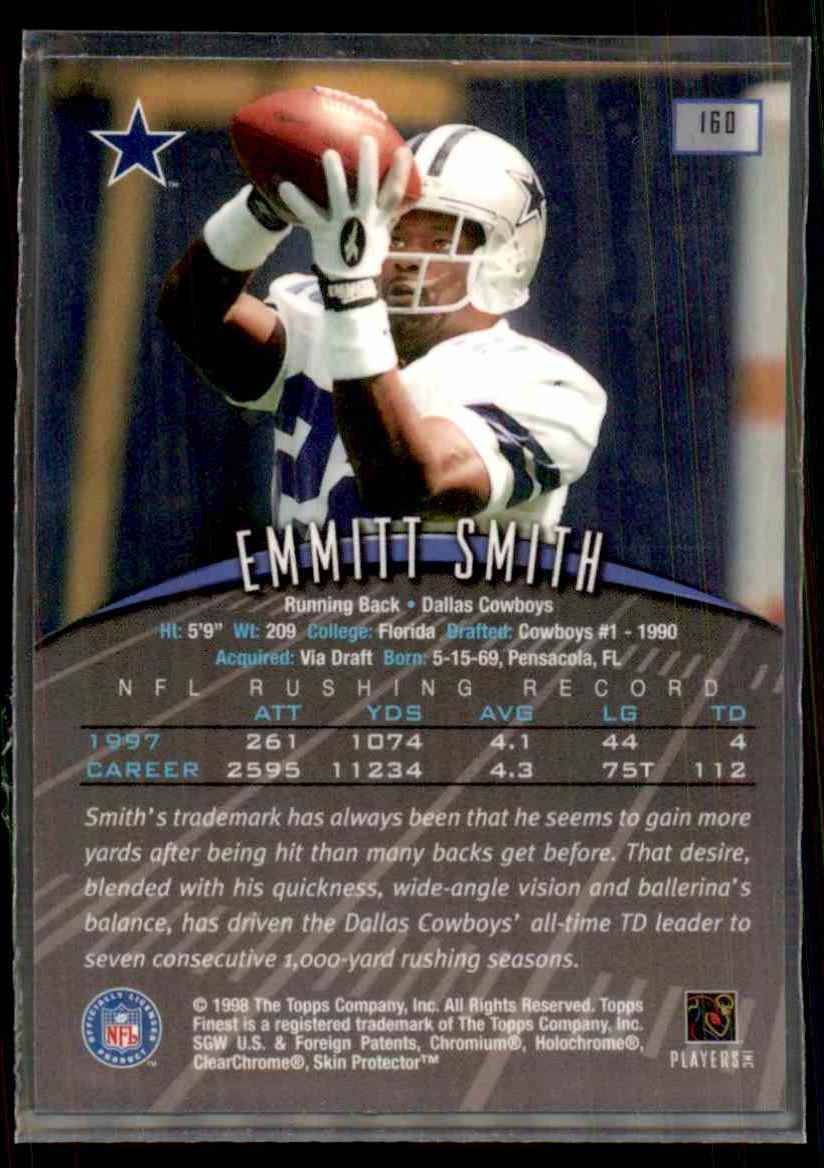 1998 Finest Emmitt Smith #160 card back image