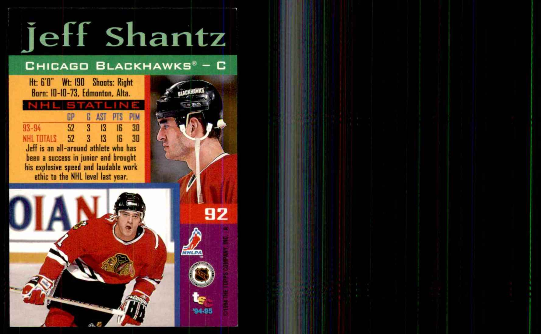 1994-95 Stadium Club Jeff Shantz #92 card back image