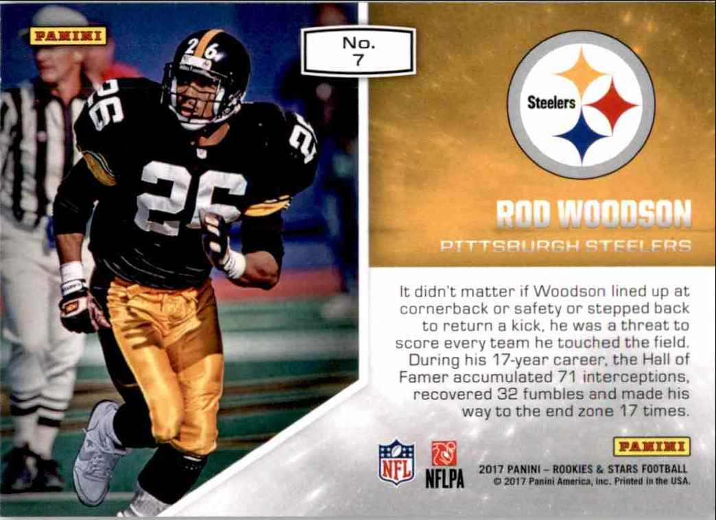 2017 Rookies And Stars Prowlers Rod Woodson #7 card back image