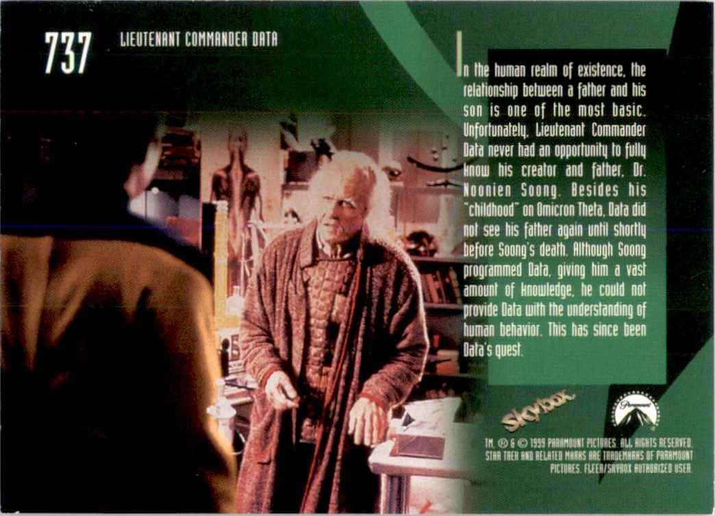 1994 Star Trek The Next Generation Episode Collection Dr. Noonien Soong #737 card back image