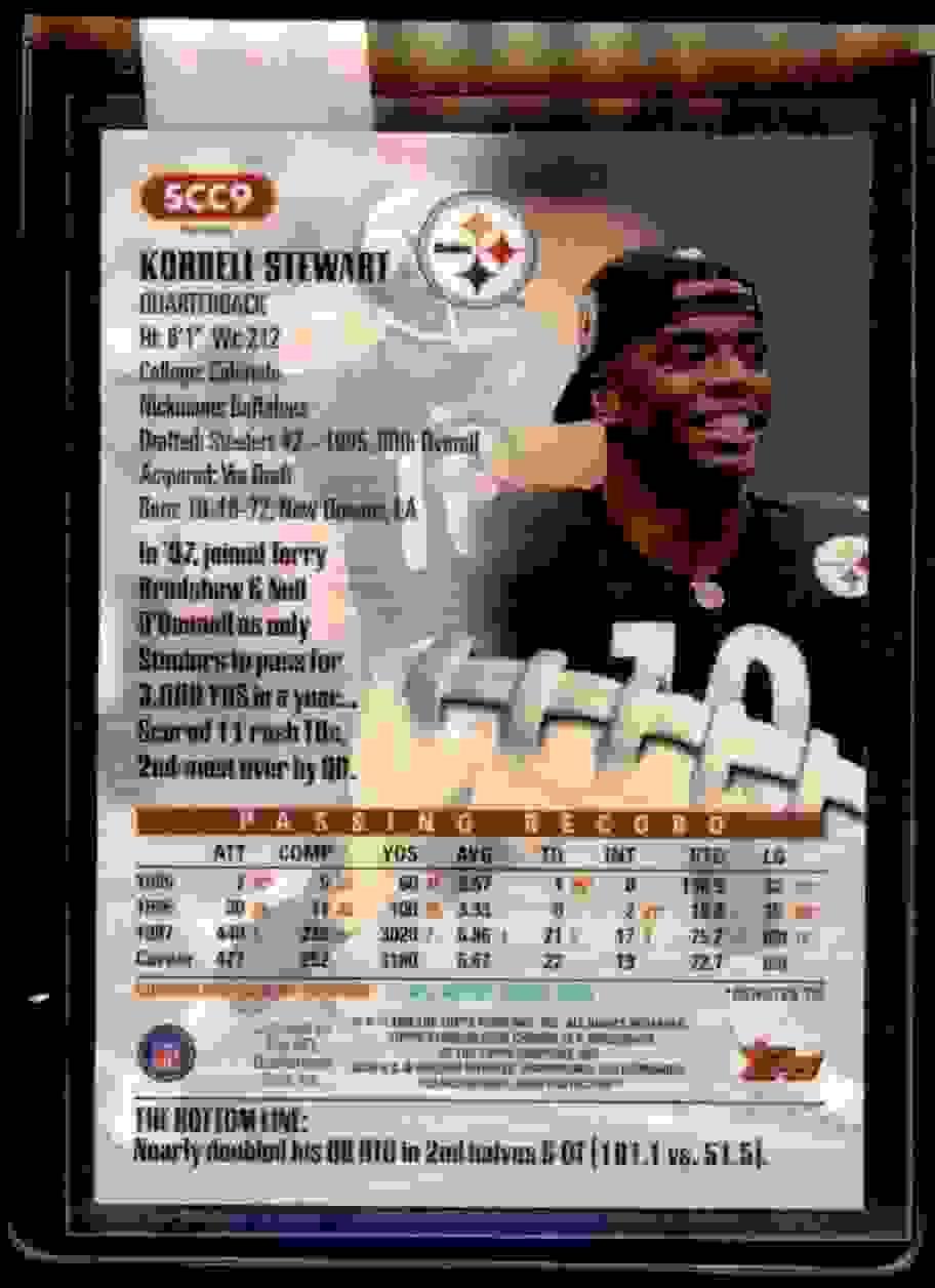 1998 Stadium Club Chrome Refractor Kordell Stewart #SCC9 card back image