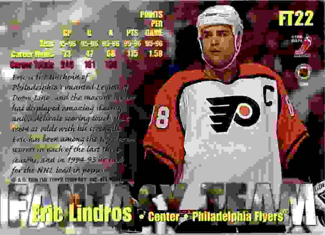 1996-97 Topps Picks Fantasy Team Eric Lindros #FT22 card back image
