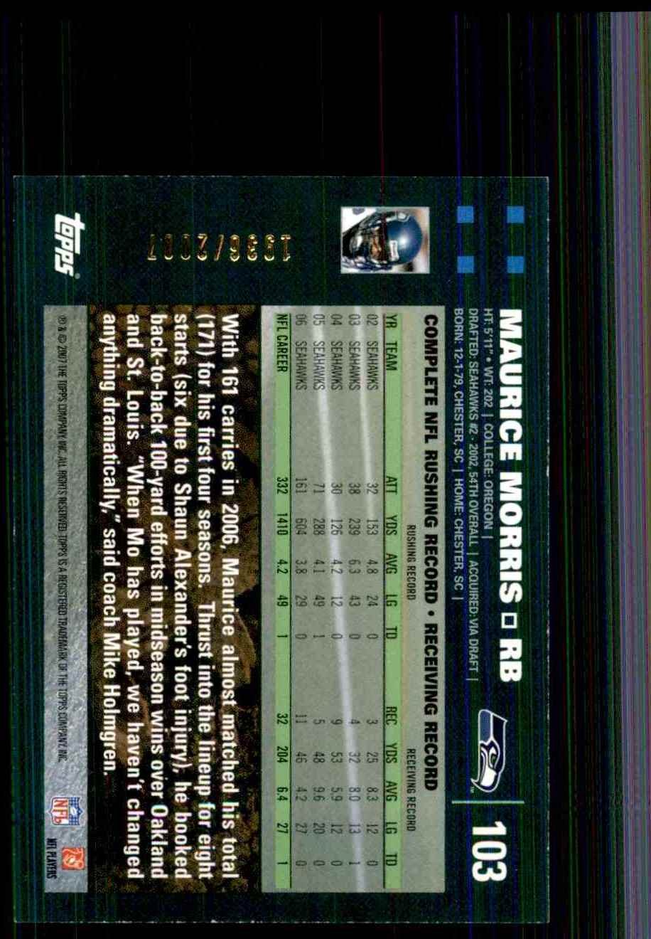 2007 Topps Copper Maurice Morris #103 card back image