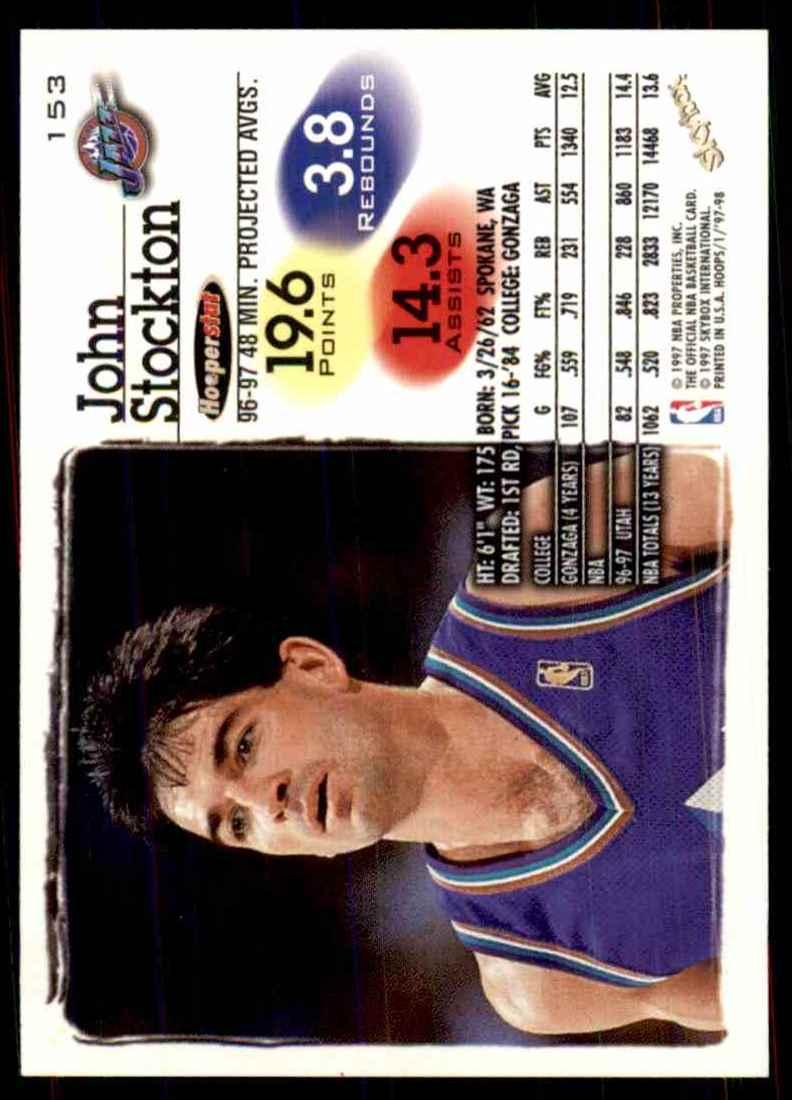 1997-98 Hoops John Stockton #153 card back image