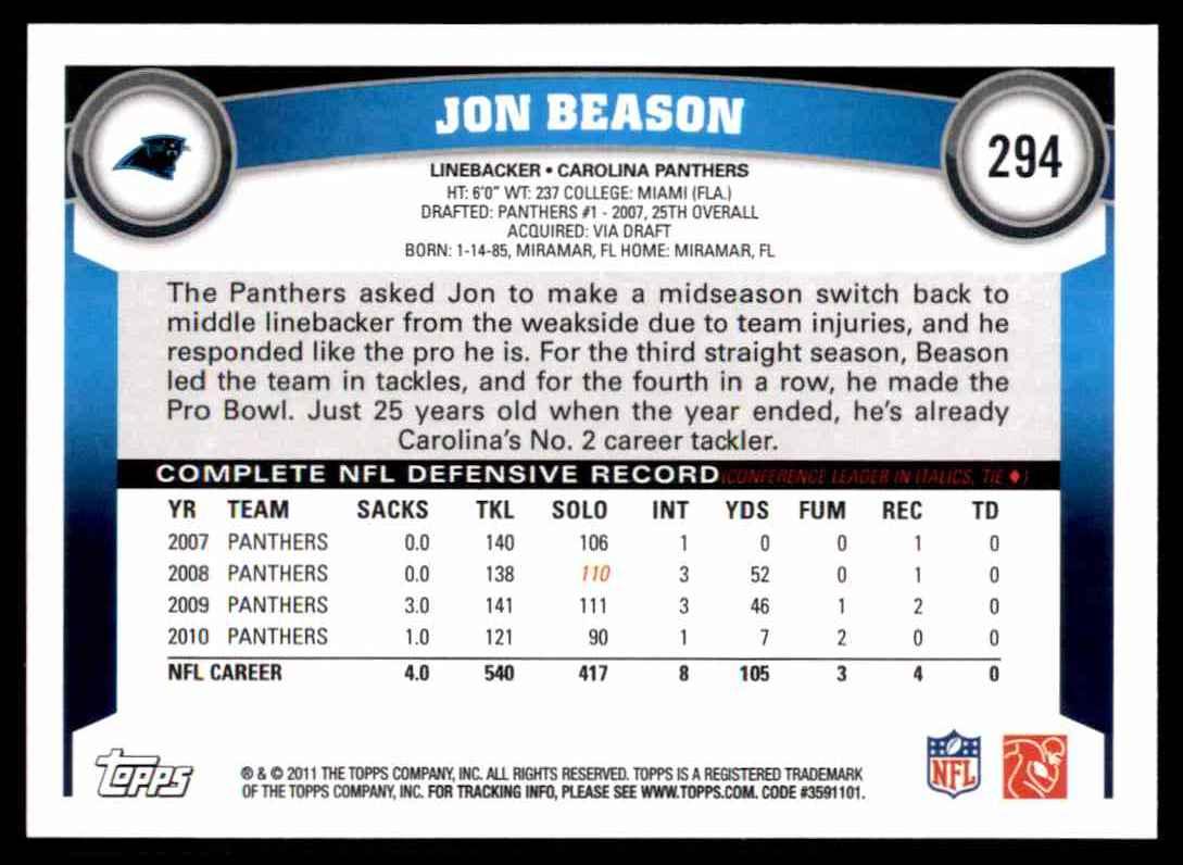 2011 Topps Jon Beason #294 card back image
