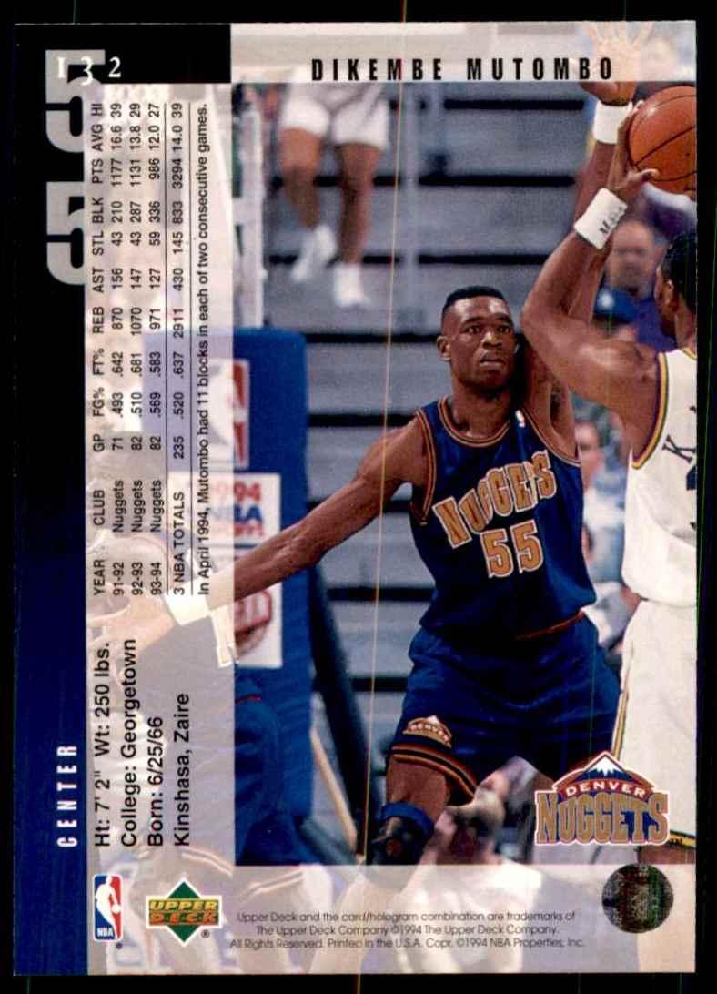 1994-95 Upper Deck Dikembe Mutombo #132 card back image