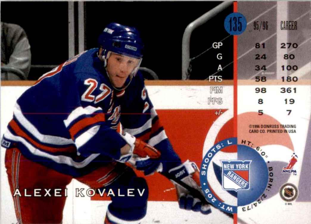 1996-97 Leaf Alexei Kovalev #135 card back image