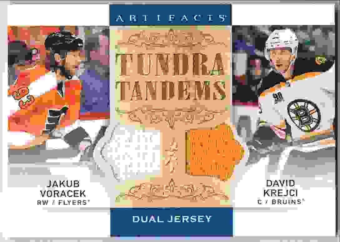 2014-15 Upper Deck Artifacts Tundra Tandems Jakub Voracek David Krejci #TT-VK card front image