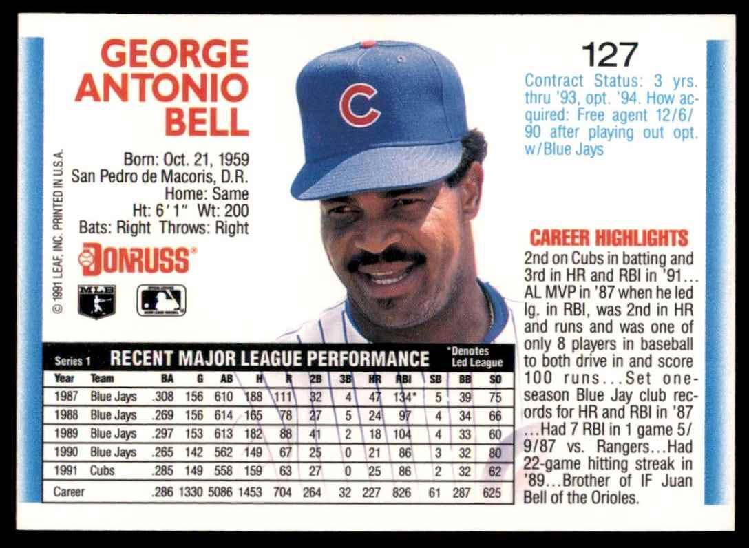 1992 Donruss George Bell #127 card back image