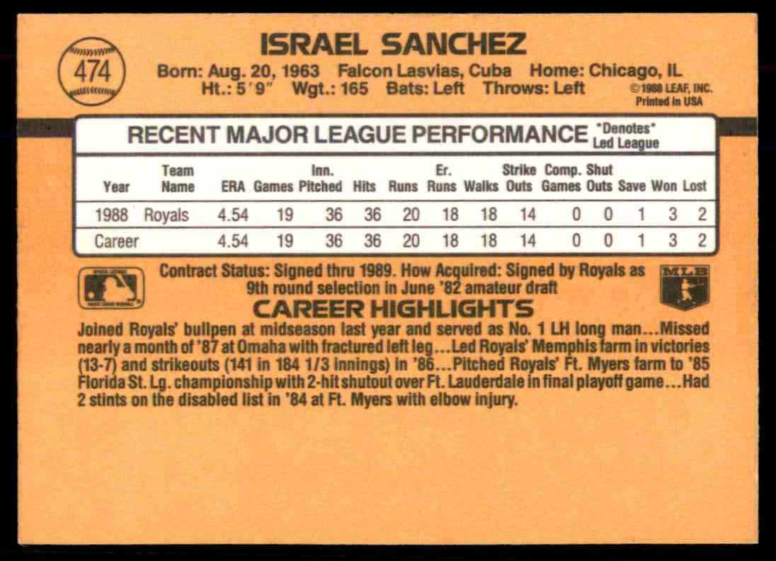 1989 Donruss Israel Sanchez #474 card back image
