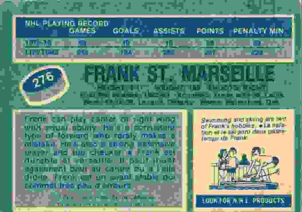 1976-77 O-Pee-Chee Frank St. Marseille #276 card back image