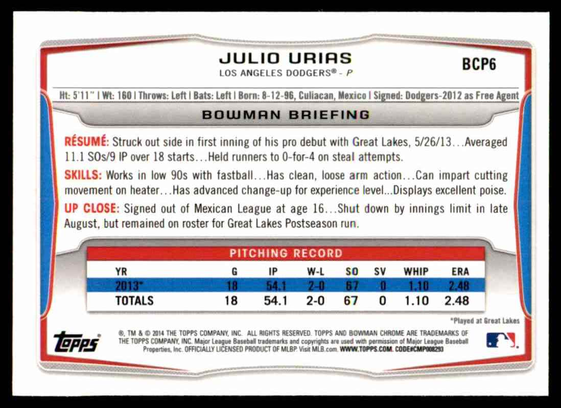 2014 Bowman Chrome Prospects Julio Urias #BCP6 card back image