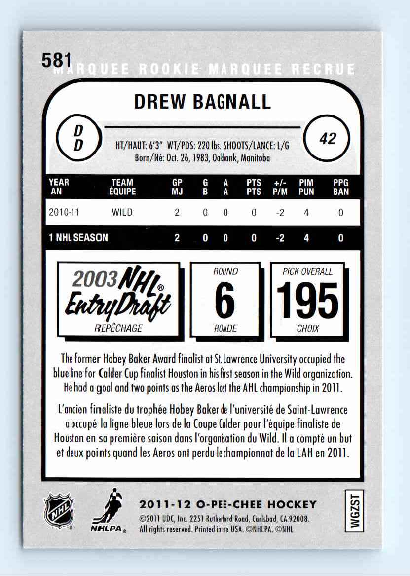 2011-12 O-Pee-Chee Marquee Rookie Drew Bagnall #581 card back image