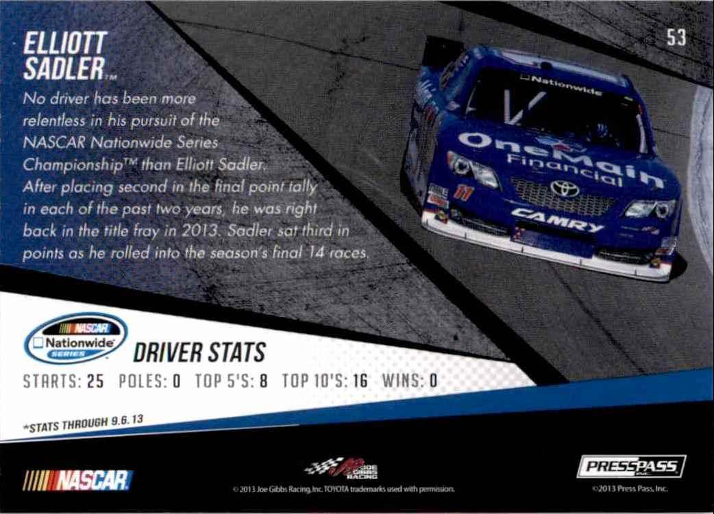 2014 Press Pass Elliott Sadler #53 card back image