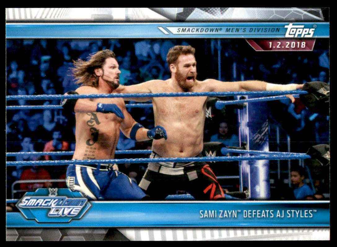 2019 Topps Wwe Road To WrestleMania Sami Zayn Defeats Aj Styles #82 card front image