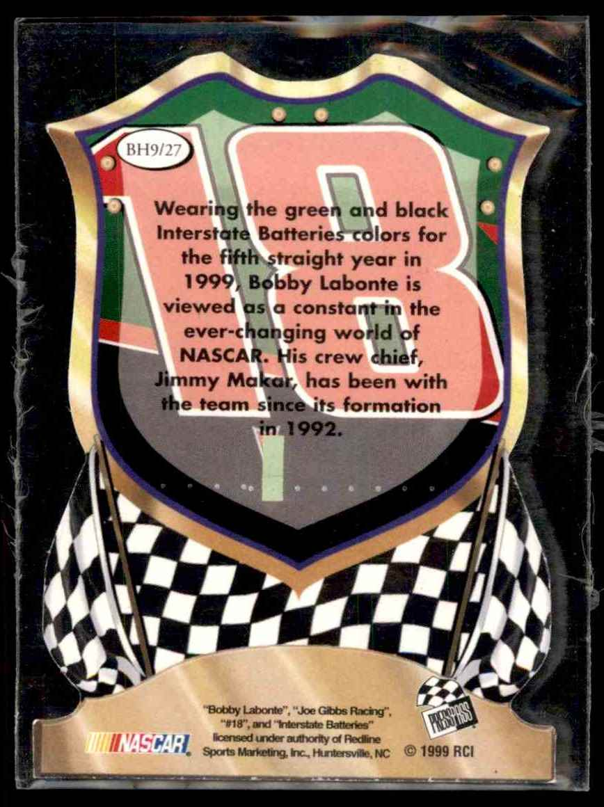 1999 Press Pass Premium Badge Of Honor Bobby Labonte #BH9 card back image