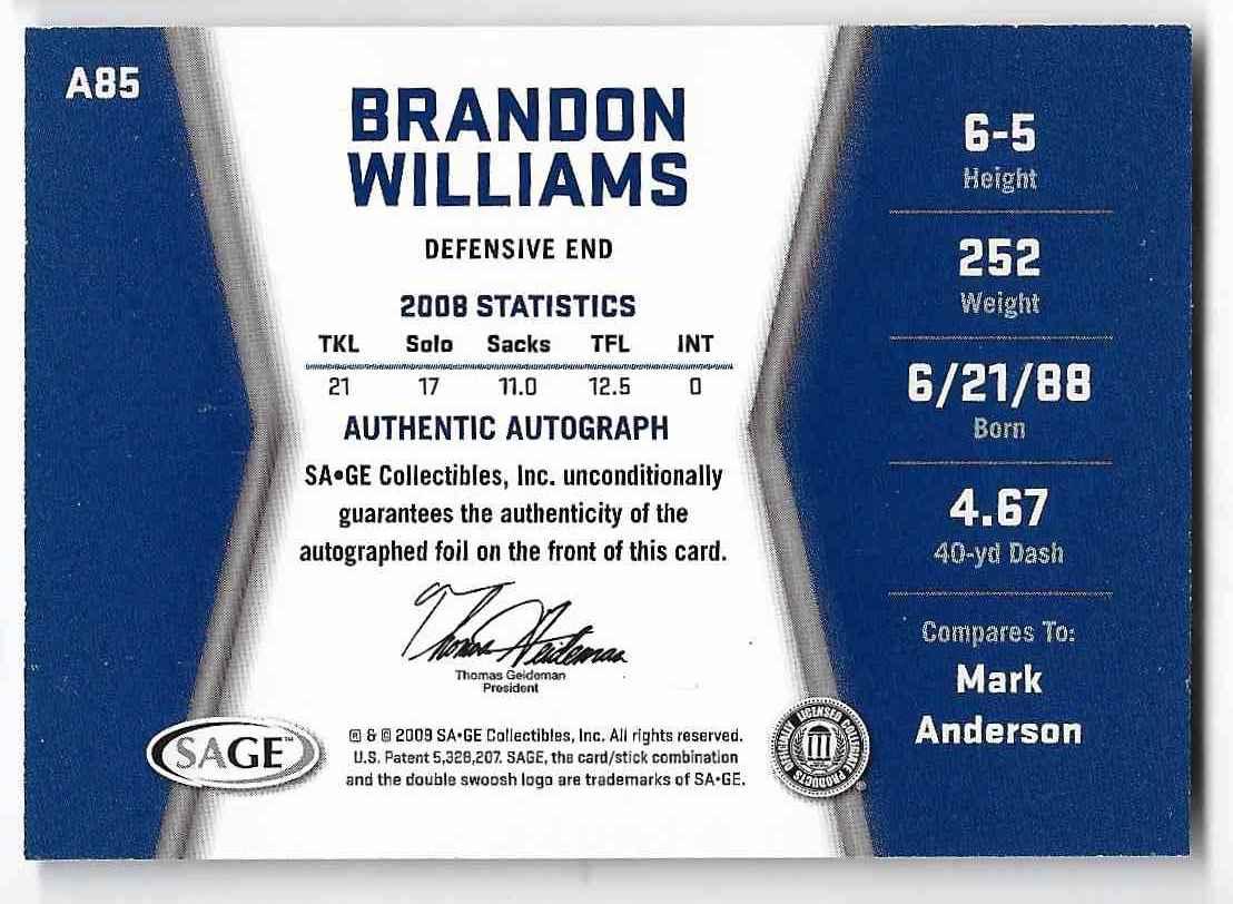 2009 Sage Hit Brandon Williams #A85 card back image