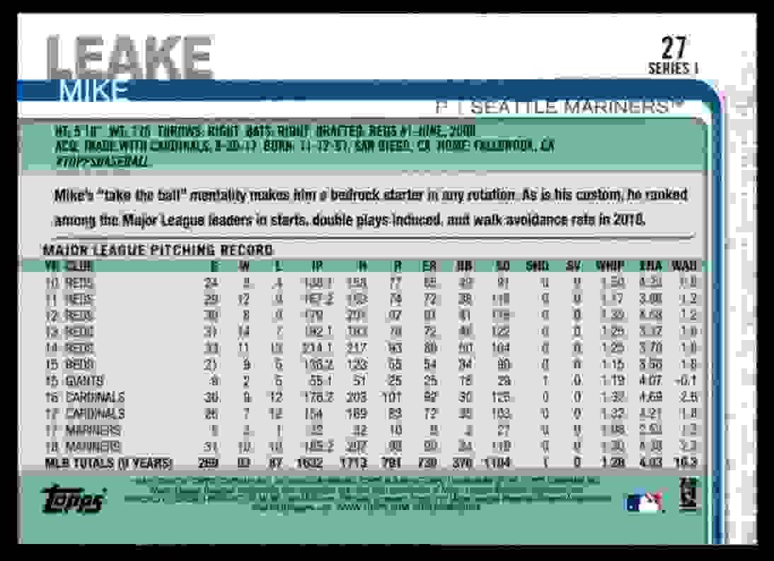 2019 Topps Mike Leake #27 card back image
