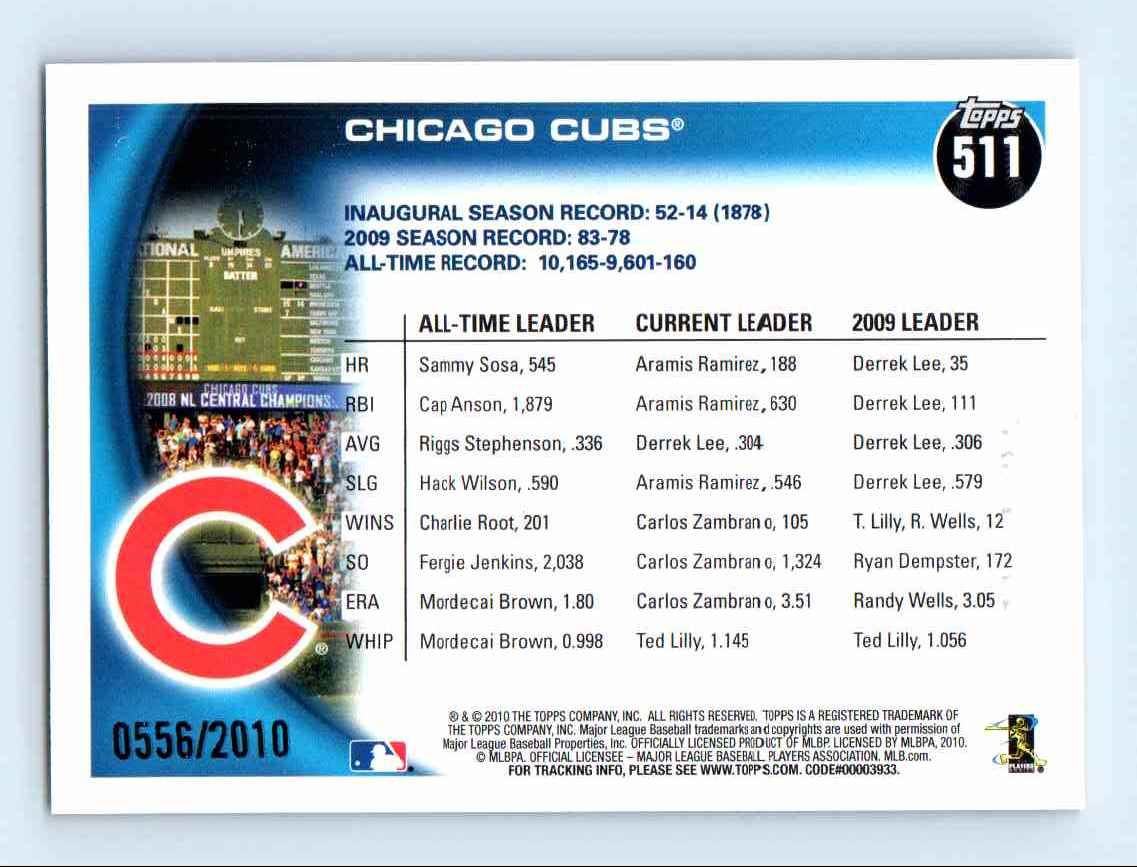 2010 Topps Gold Border Chicago Cubs #511 card back image