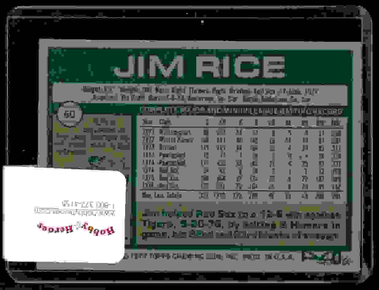 1977 Topps Jim Rice #60 card back image