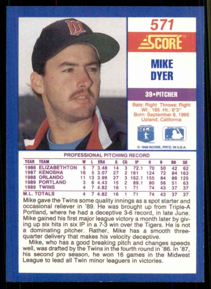1990 Score Mike Dyer RC #571 card back image