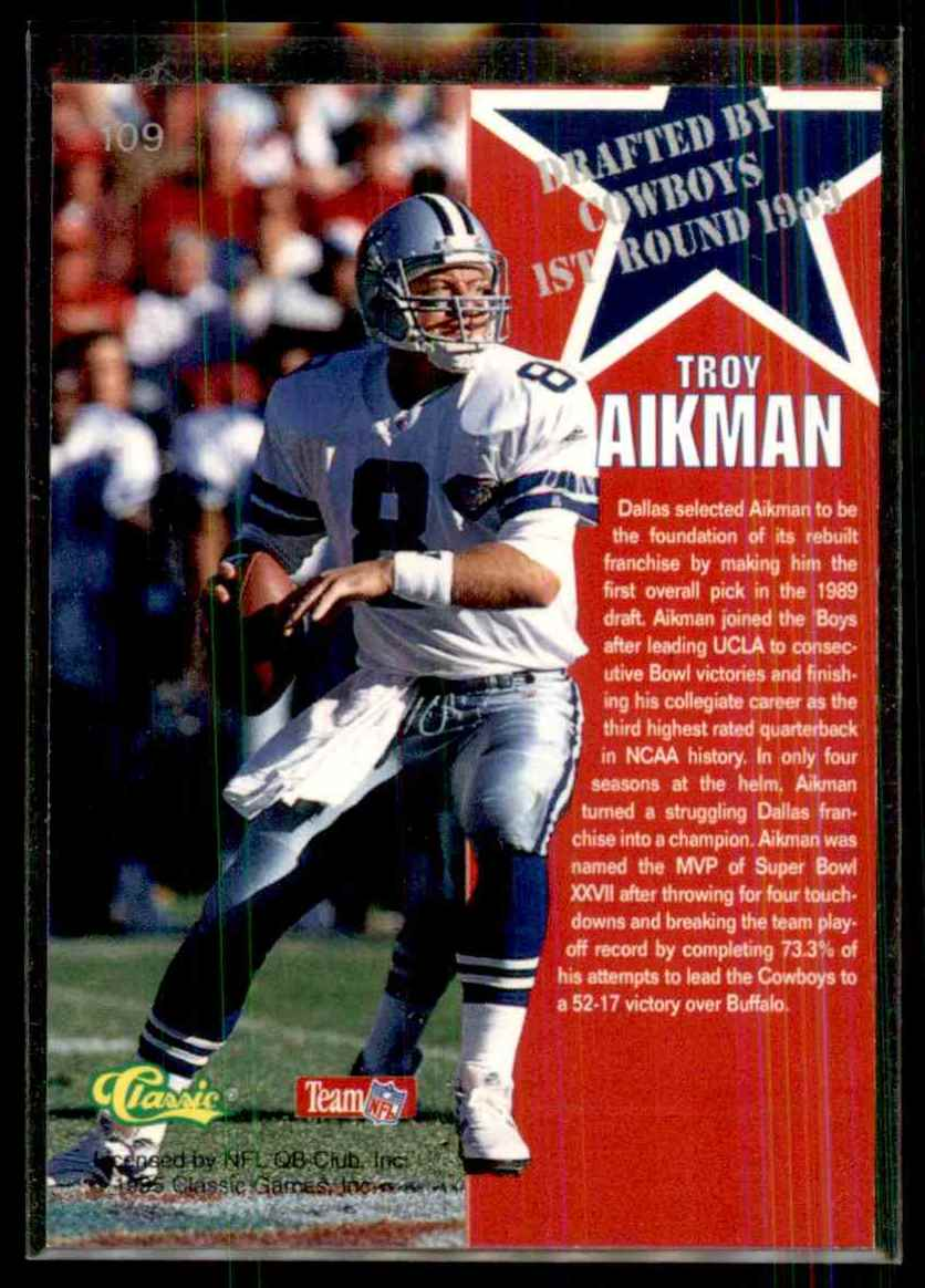 1995 Classic NFL Rookies Silver Troy Aikman #109 card back image