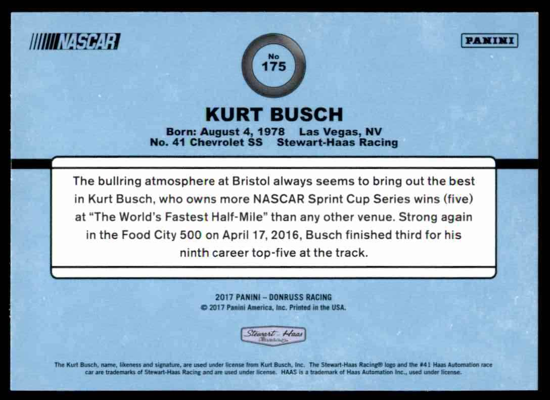 2017 Donruss Kurt Busch #175 card back image