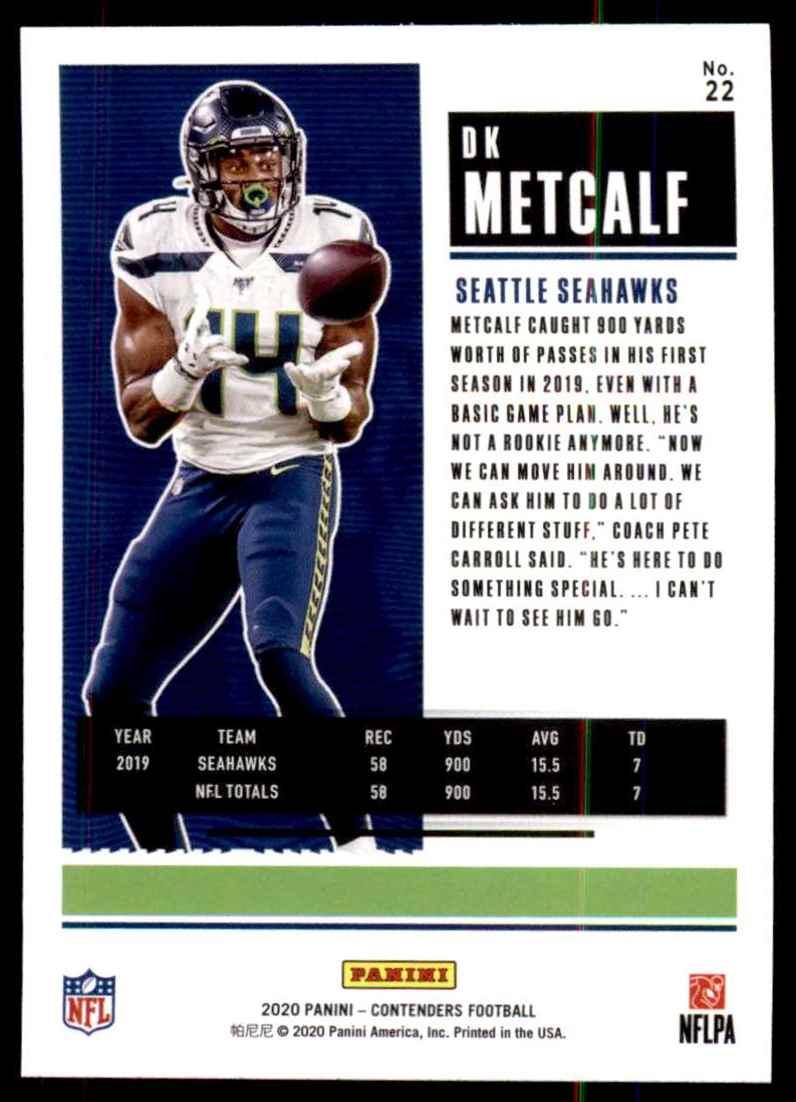 2020 Panini Contenders D.K. Metcalf #22 card back image