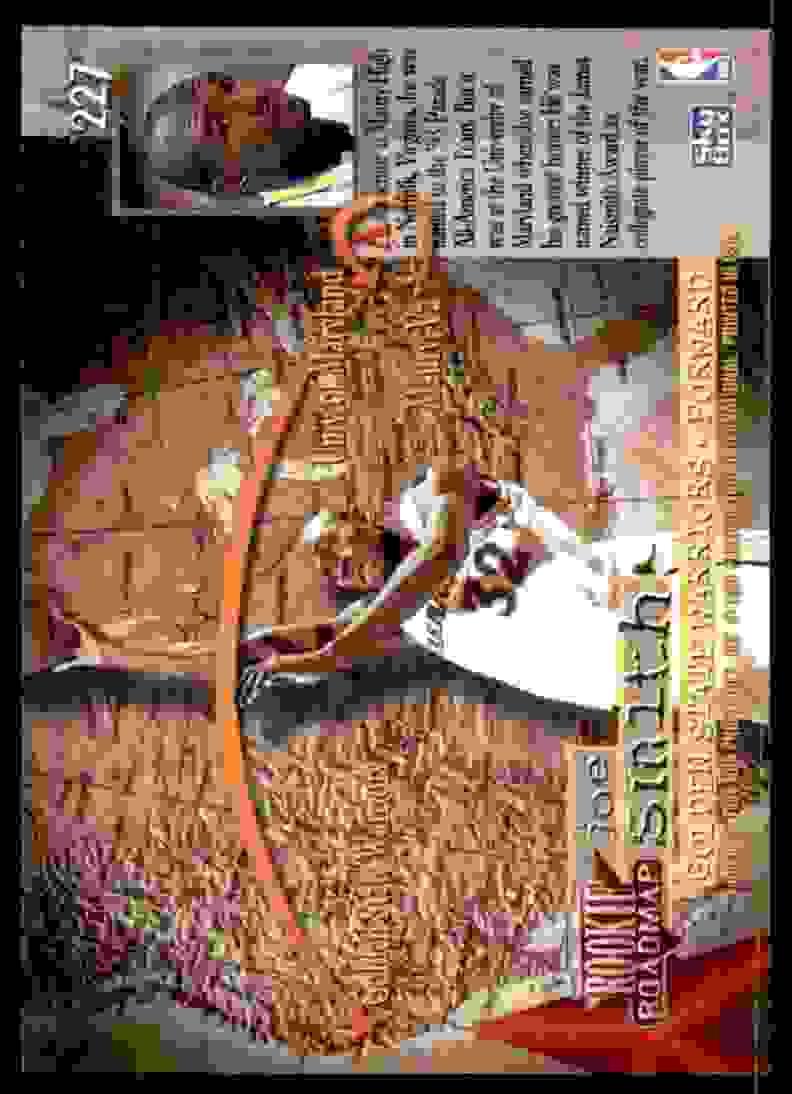 1995-96 Skybox Premium Joe Smith RC #227 card back image