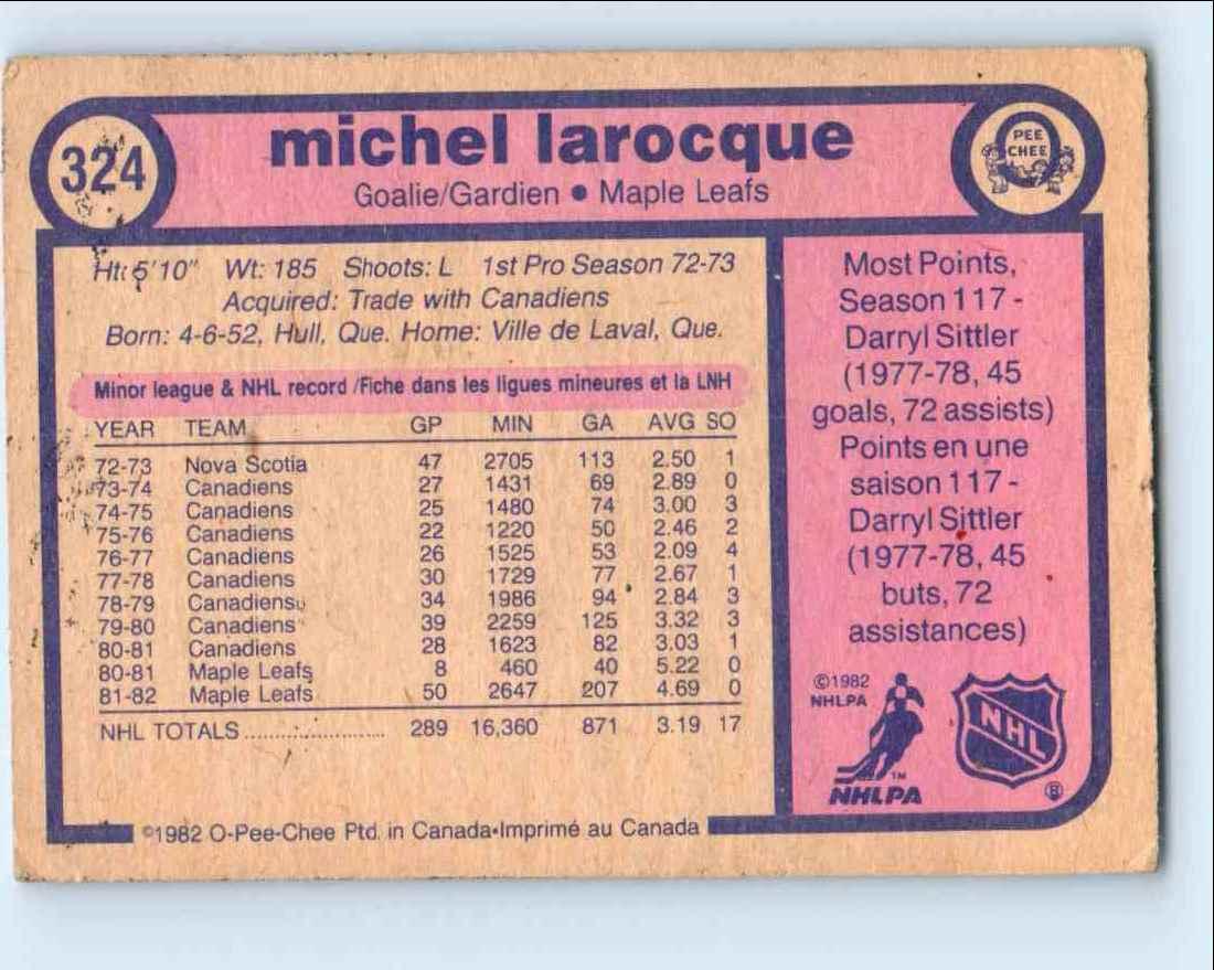 1982-83 O-Pee-Chee Michellarocque #324 card back image