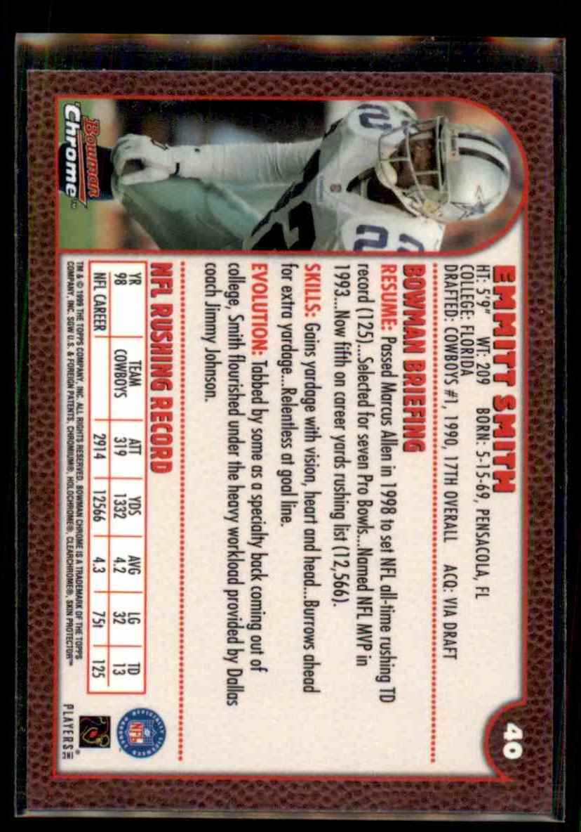 1999 Bowman Chrome Emmitt Smith #40 card back image