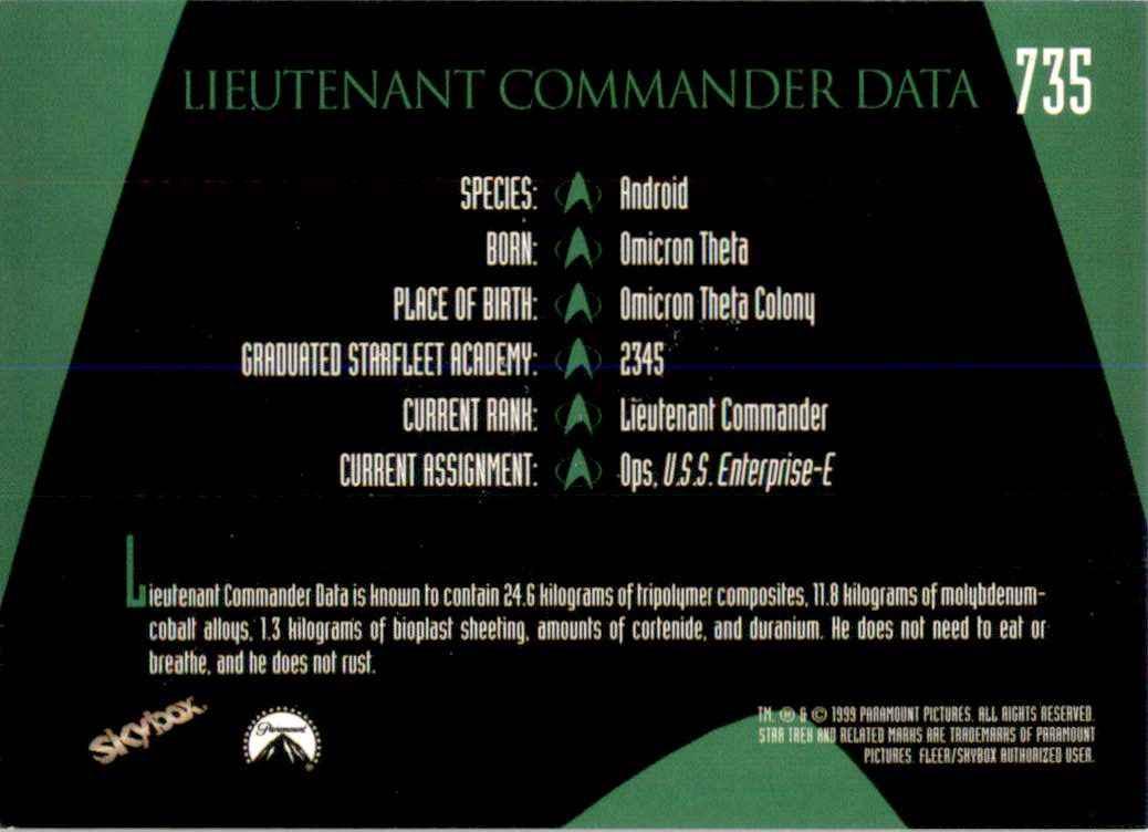1994 Star Trek The Next Generation Episode Collection Lieutenant Commander Data #735 card back image