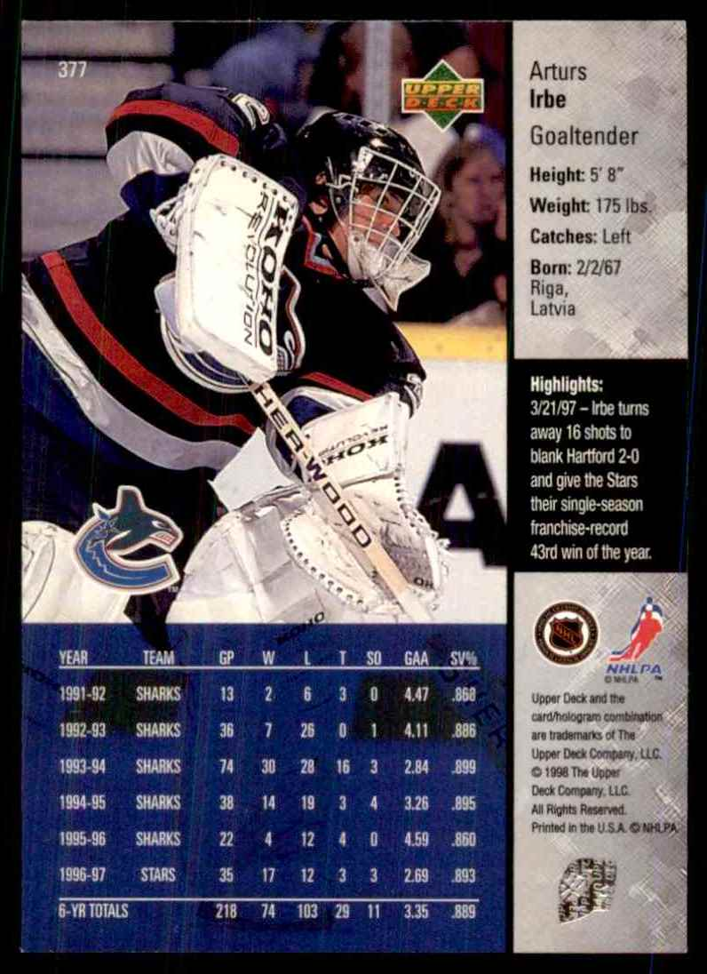 1997-98 Upper Deck Arturs Irbe #377 card back image
