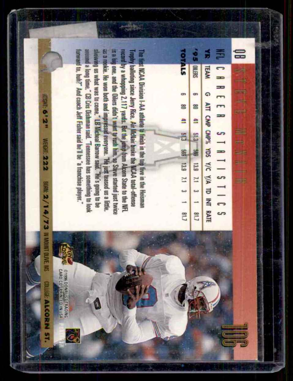 1996 Donruss Press Proofs Steve McNair #106 card back image