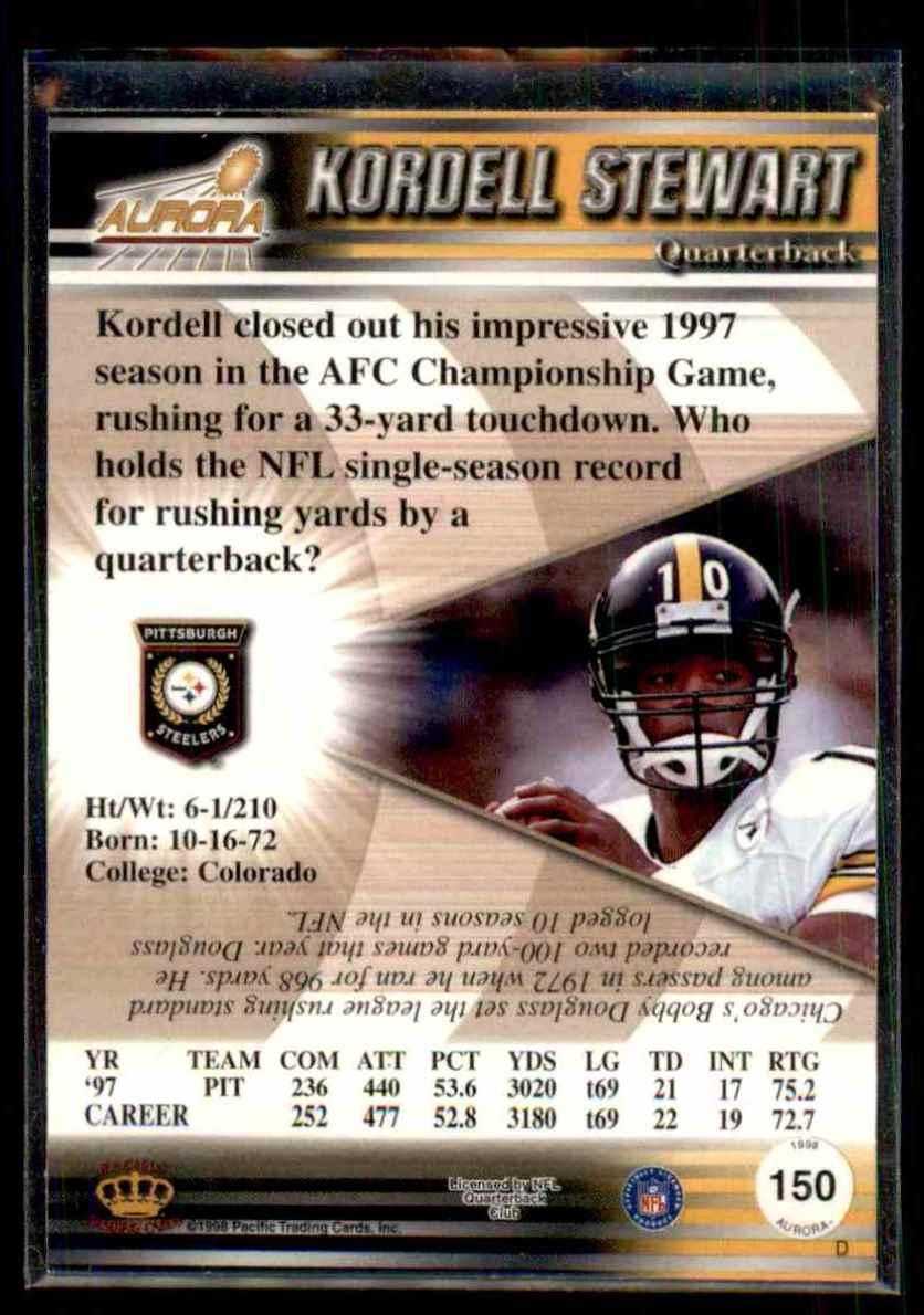 1998 Pacific Aurora Kordell Stewart #150 card back image