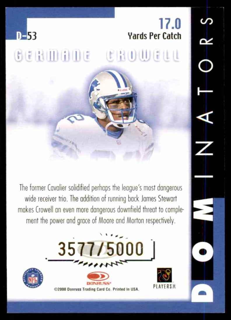 2000 Donruss Dominators Germane Crowell #53 card back image