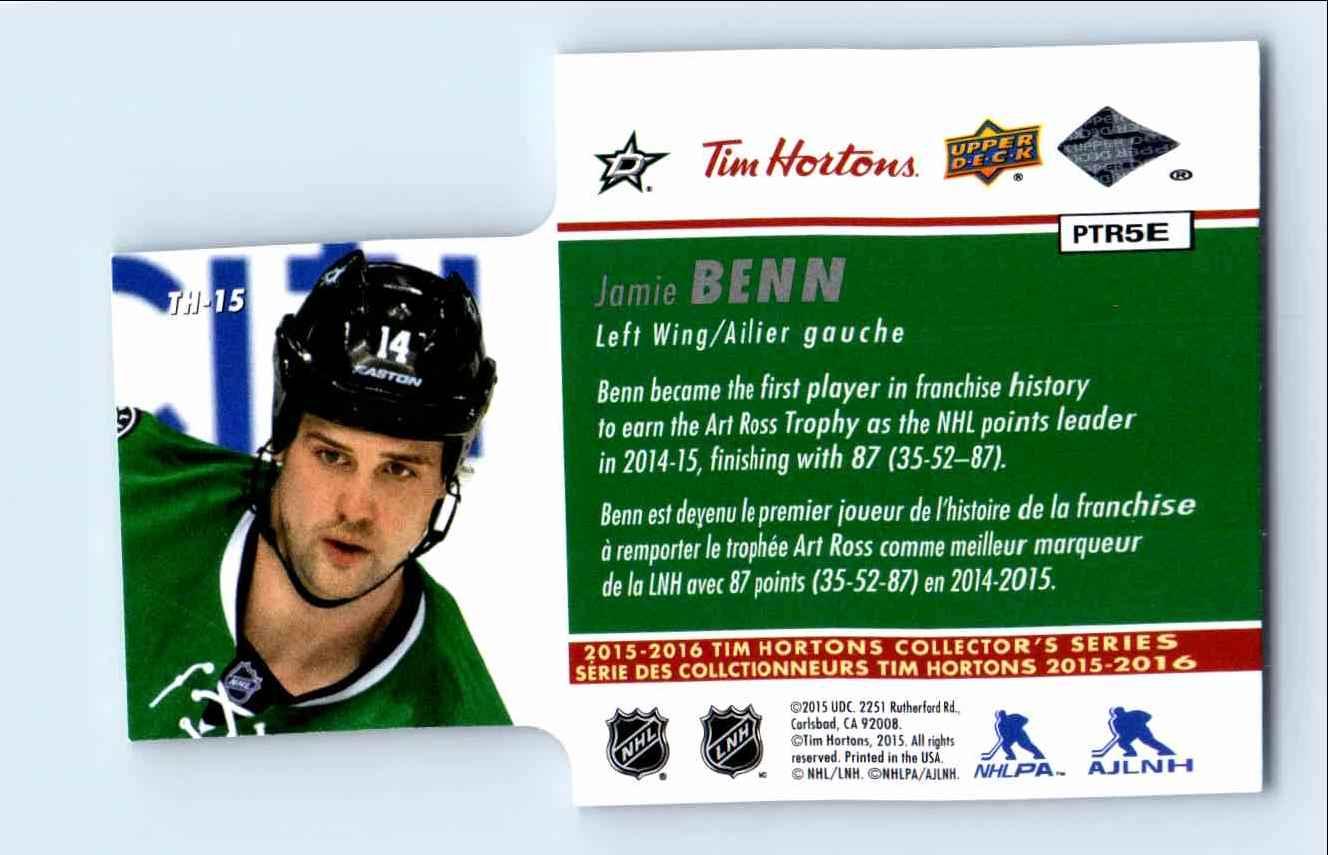 2015-16 Upper Deck Tim Hortons Jamie Benn #TH-15 card back image