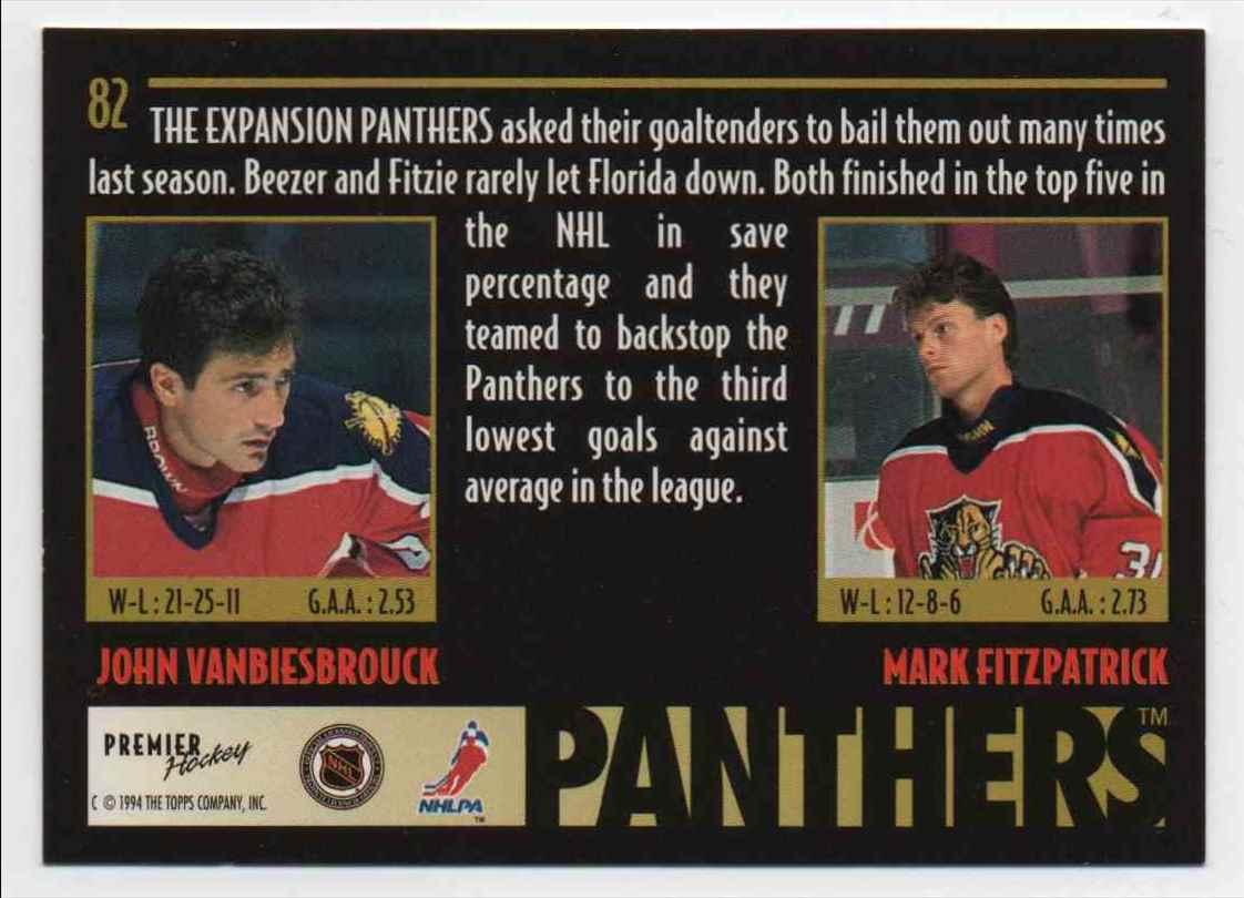 1994-95 Topps Premier Goaltending Duo John Vanbiesbrouck, Mark Fitzpatrick #82 card back image